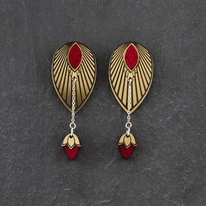 Earrings SMALL THE ATHENA I Ruby Red and Gold Stackable Earrings THE ATHENA I Ruby Red and Gold Customisable Earrings I Handmade in Australia