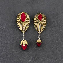 Load image into Gallery viewer, Earrings THE ATHENA I Ruby Red and Gold Stackable Earrings THE ATHENA I Ruby Red and Gold Customisable Earrings I Handmade in Australia
