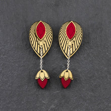 Load image into Gallery viewer, Earrings LARGE THE ATHENA I Ruby Red and Gold Stackable Earrings THE ATHENA I Ruby Red and Gold Customisable Earrings I Handmade in Australia
