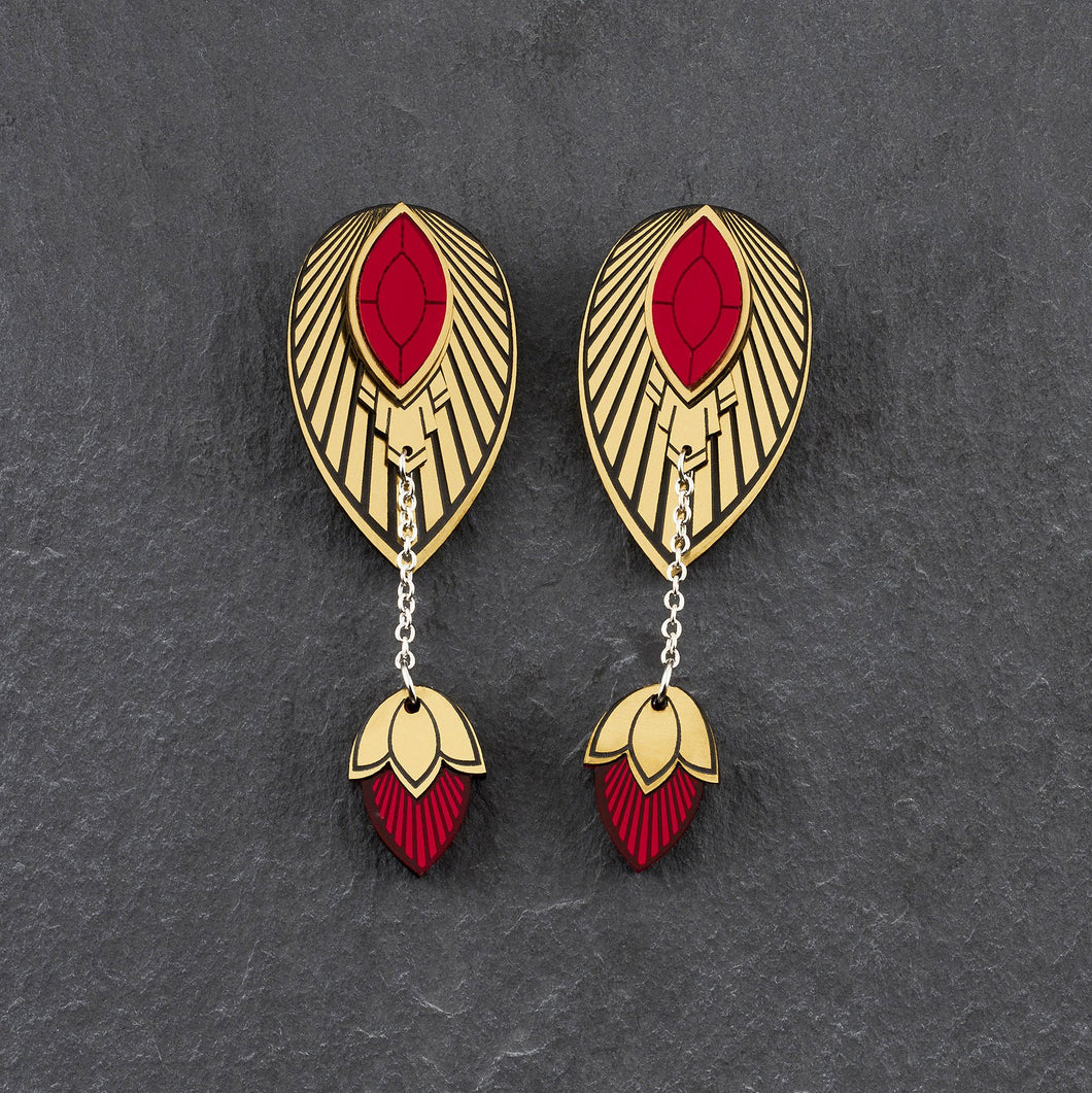 Earrings LARGE THE ATHENA I Ruby Red and Gold Stackable Earrings THE ATHENA I Ruby Red and Gold Customisable Earrings I Handmade in Australia