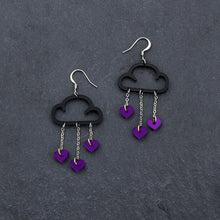 Load image into Gallery viewer, love rain purple dangle earrings clouds weather love black