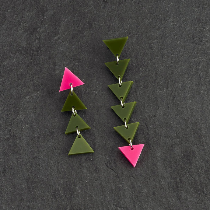 earrings PASSION POP Olive and Hot Pink Mismatching Dangles ELEMENTAL ALCHEMY Triangle Earrings | Mismatched Statement Earrings | MAINE+MARA Shop