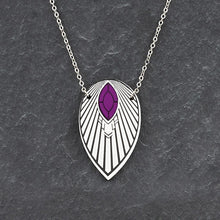 Load image into Gallery viewer, Necklace THE ATHENA I Purple and Silver Art Deco Pendant Long Necklace THE ATHENA I Purple and Silver Art Deco Pendant Long Necklace I Handmade in Australia