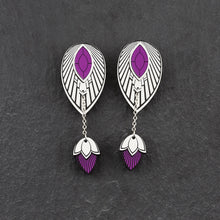 Load image into Gallery viewer, Earrings THE ATHENA I Silver and Purple Stackable Earrings THE ATHENA I Silver and Rose Gold Customisable Earrings I Handmade in Australia