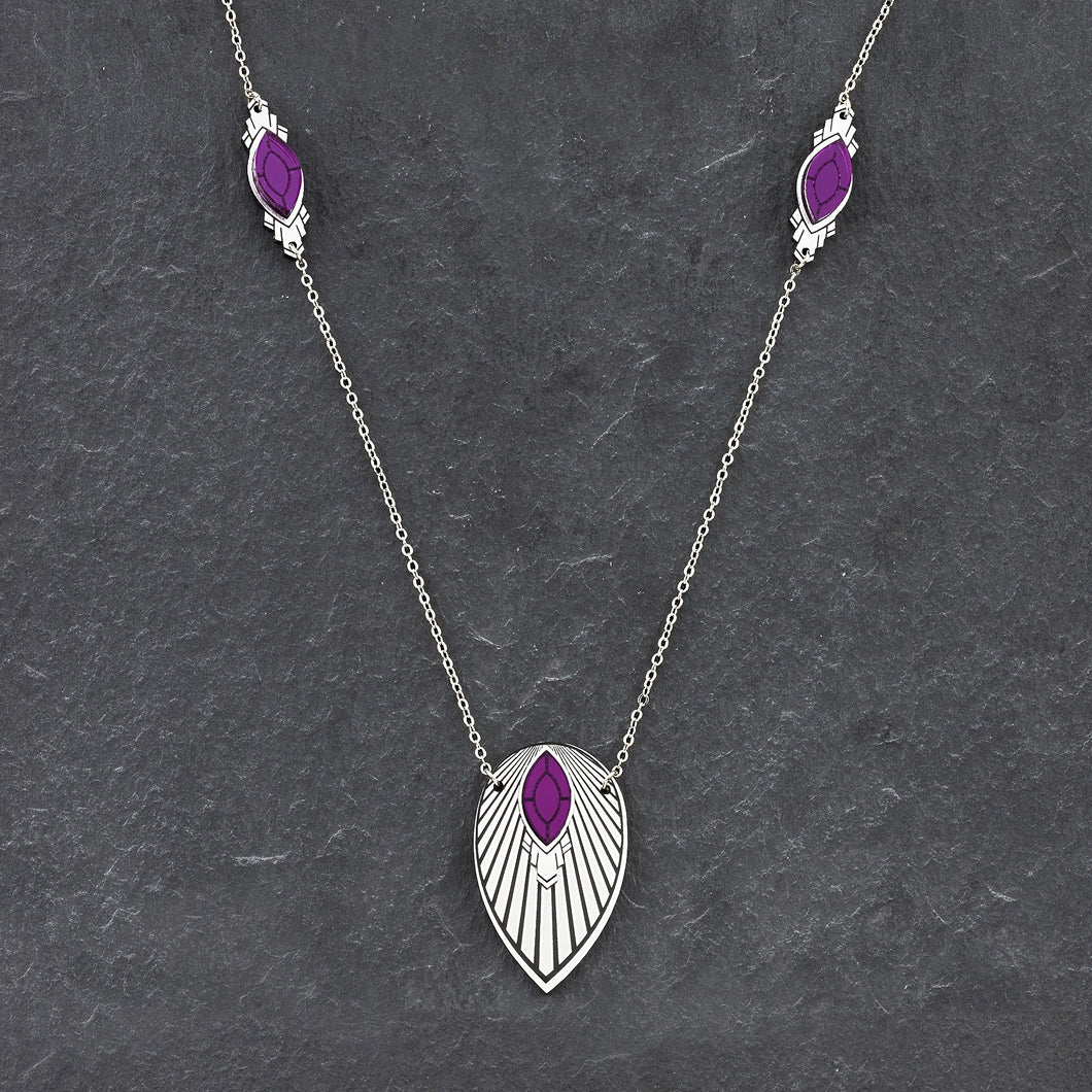 Necklace THE ATHENA I Purple and Silver Art Deco Pendant Long Necklace THE ATHENA I Purple and Silver Art Deco Pendant Long Necklace I Handmade in Australia
