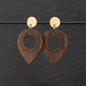 Earrings WOOD / MEDIUM RIGHT HERE, RIGHT NOW DANGLES RIGHT HERE RIGHT NOW DANGLES | Meaningful Statement Earrings | MAINE+MARA Shop