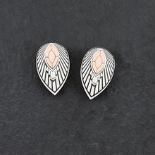 Load image into Gallery viewer, Earrings THE ATHENA I Art Deco Rose Gold Stud Earrings THE ATHENA I Silver and Rose Gold Art Deco Stud Earrings I Handmade in Australia