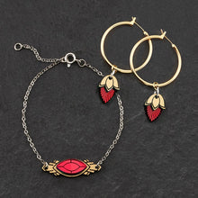 Load image into Gallery viewer, Bracelet RUBY GEM / MATCHING HOOPS THE ATHENA I Emerald or Ruby and Gold Art Deco Bracelet THE ATHENA I Emerald or Ruby and Gold Art Deco Bracelet I Handmade in Australia