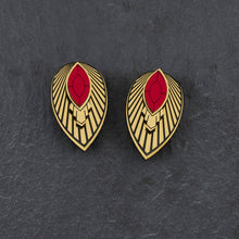 Load image into Gallery viewer, Earrings LARGE / WITH SHIELD THE ATHENA I Ruby Red and Gold Art Deco Stud Earrings THE ATHENA I Ruby and gold Art Deco Stud Earrings I Handmade in Australia