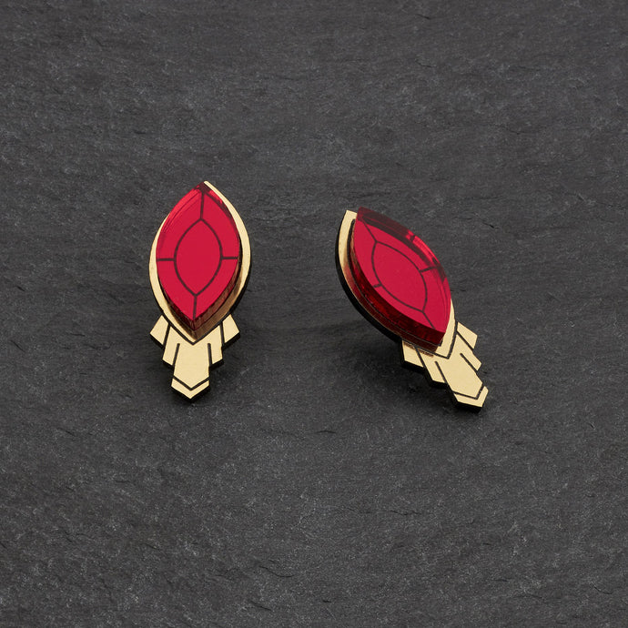 Earrings SMALL / NO SHIELD THE ATHENA I Ruby Red and Gold Art Deco Stud Earrings THE ATHENA I Emerald and gold Art Deco Stud Earrings I Handmade in Australia