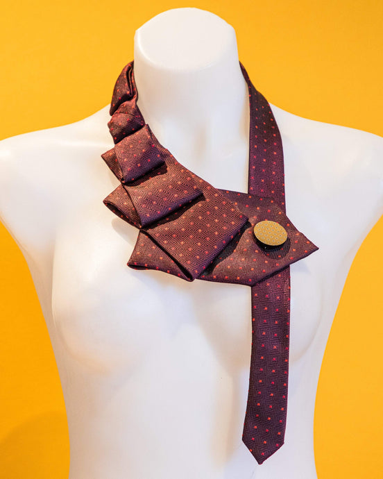 Accessories THE ROSETTA UPCYCLED NECKLACE THE ROSETTA | Red + Burgundy Upcycled Statement Necklace | MAINE+MARA Shop