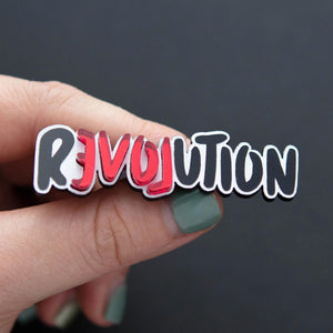 brooch BLACK REVOLUTION LOVE REVOLUTION I BROOCH LOVE REVOLUTION  | Meaningful Statement Brooch | MAINE+MARA Shop