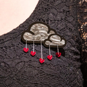 Brooch LOVE RAIN CLOUD BROOCH LOVE RAIN Cloud and Heart Brooch | Statement Brooch | MAINE+MARA Shop