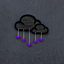 Load image into Gallery viewer, Brooch PURPLE LOVE RAIN CLOUD BROOCH LOVE RAIN Cloud and Heart Brooch | Statement Brooch | MAINE+MARA Shop