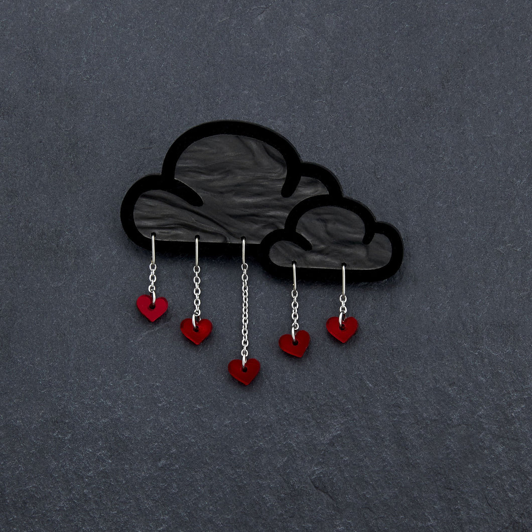 Brooch RED LOVE RAIN CLOUD BROOCH LOVE RAIN Cloud and Heart Brooch | Statement Brooch | MAINE+MARA Shop