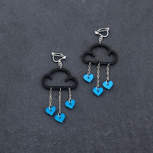 Load image into Gallery viewer, Clip on Earrings BLUE HEARTS / BLACK CLIP ON LOVE RAIN DANGLES Love Rain Cloud Earrings | Clip-on Statement Earrings | MAINE+MARA Shop
