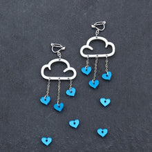 Load image into Gallery viewer, Clip on Earrings BLUE HEARTS / WHITE CLIP ON LOVE RAIN DANGLES Love Rain Cloud Earrings | Clip-on Statement Earrings | MAINE+MARA Shop