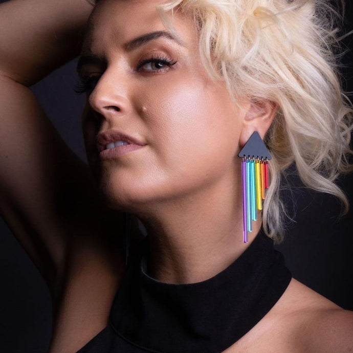 Clip on Earrings CLIP ON RAINBOW CHEEKY CHIMES Rainbow Pride Long Dangles | Clip-on Statement Earrings | MAINE+MARA Shop