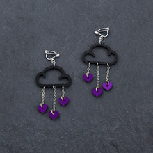 Load image into Gallery viewer, Clip on Earrings PURPLE HEARTS / BLACK CLIP ON LOVE RAIN DANGLES Love Rain Cloud Earrings | Clip-on Statement Earrings | MAINE+MARA Shop