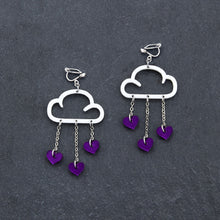 Load image into Gallery viewer, Clip on Earrings PURPLE HEARTS / WHITE CLIP ON LOVE RAIN DANGLES Love Rain Cloud Earrings | Clip-on Statement Earrings | MAINE+MARA Shop