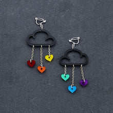 Load image into Gallery viewer, Clip on Earrings RAINBOW HEARTS / BLACK CLIP ON LOVE RAIN DANGLES Love Rain Cloud Earrings | Clip-on Statement Earrings | MAINE+MARA Shop