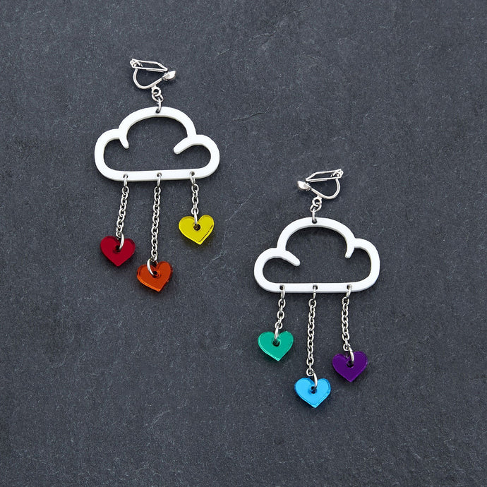 Clip on Earrings RAINBOW HEARTS / WHITE CLIP ON LOVE RAIN DANGLES Love Rain Cloud Earrings | Clip-on Statement Earrings | MAINE+MARA Shop
