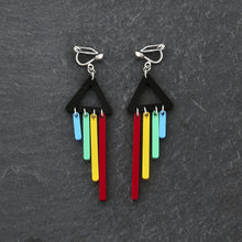 Load image into Gallery viewer, Clip on Earrings RED / CLIP ON CLIP ON RAINBOW CHIMETTES Rainbow Pride Short Dangles | Clip-on Statement Earrings | MAINE+MARA Shop
