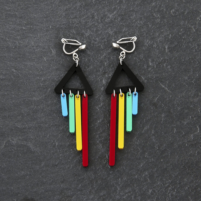 Clip on Earrings RED / CLIP ON CLIP ON RAINBOW CHIMETTES Rainbow Pride Short Dangles | Clip-on Statement Earrings | MAINE+MARA Shop
