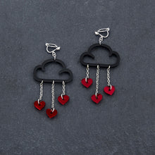 Load image into Gallery viewer, Clip on Earrings RED HEARTS / BLACK CLIP ON LOVE RAIN DANGLES Love Rain Cloud Earrings | Clip-on Statement Earrings | MAINE+MARA Shop