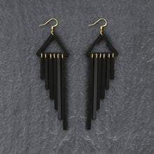 Load image into Gallery viewer, earrings BLACK / HOOK COLOUR POP CHIMES DANGLES Colour Pop Chimes Long Dangles | Hook or Clip-on Statement Earrings | MAINE+MARA Shop