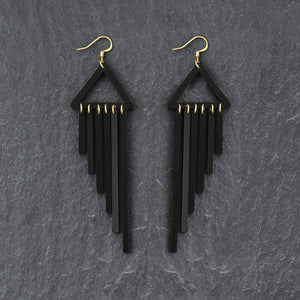 earrings BLACK / HOOK COLOUR POP CHIMES DANGLES Colour Pop Chimes Long Dangles | Hook or Clip-on Statement Earrings | MAINE+MARA Shop