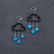 Load image into Gallery viewer, Earrings BLUE HEARTS / BLACK / HOOK LOVE RAIN DANGLES LOVE RAIN DANGLES Cloud and Love Heart Dangle Earrings I Hook or clip-on Earrings
