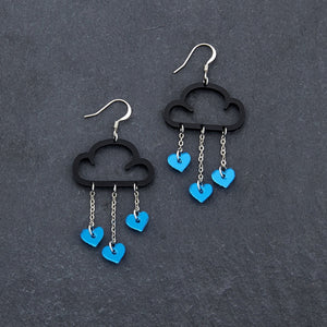 Earrings BLUE HEARTS / BLACK / HOOK LOVE RAIN DANGLES LOVE RAIN DANGLES Cloud and Love Heart Dangle Earrings I Hook or clip-on Earrings