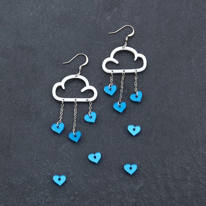 Earrings BLUE HEARTS / WHITE / HOOK LOVE RAIN DANGLES LOVE RAIN DANGLES Cloud and Love Heart Dangle Earrings I Hook or clip-on Earrings