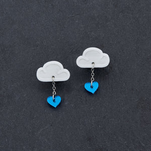 earrings BLUE / WHITE LOVE RAINDROPS LOVE RAINDROPS Cloud and Heart Earrings | Statement Studs | MAINE+MARA Shop