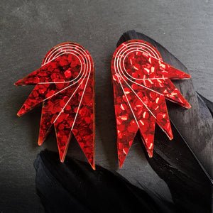 earrings CRIMSON GLITTER / STUDS GLITTERY SPREAD YOUR WINGS I GRANDE GLITTERY WING STUDS | Art deco Statement Earrings | Stud or Clip-on | MAINE+MARA Shop