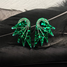 Load image into Gallery viewer, earrings EMERALD GLITTER / STUDS GLITTERY SPREAD YOUR WINGS I MEDIUM GLITTERY WING STUDS | Art deco Statement Earrings | Stud or Clip-on | MAINE+MARA Shop