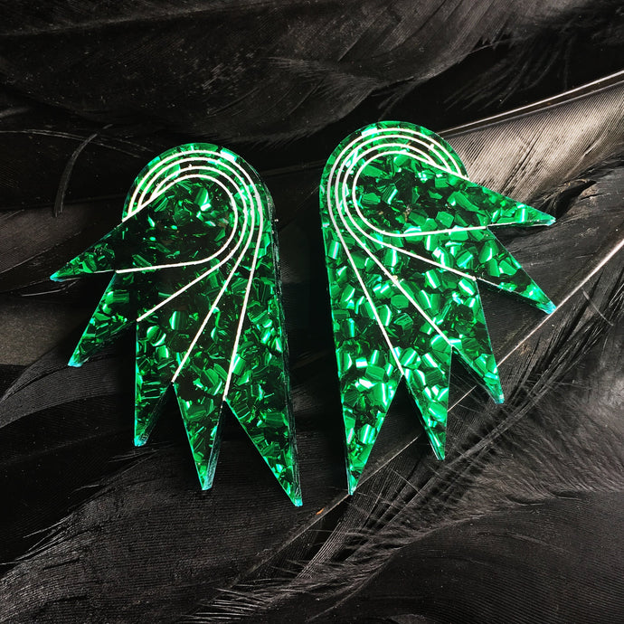 earrings EMERALD GREEN GLITTER / STUDS GLITTERY SPREAD YOUR WINGS I GRANDE GLITTERY WING STUDS | Art deco Statement Earrings | Stud or Clip-on | MAINE+MARA Shop