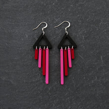 Load image into Gallery viewer, Earrings FLAMINGO / HOOK BOLD BIRD CHIMETTES Bold Colourful Short Dangles | Hook or Clip-on Statement Earrings | MAINE+MARA Shop