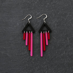 Earrings FLAMINGO / HOOK BOLD BIRD CHIMETTES Bold Colourful Short Dangles | Hook or Clip-on Statement Earrings | MAINE+MARA Shop