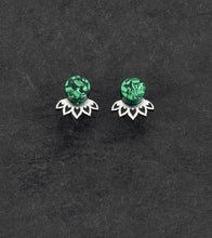 Load image into Gallery viewer, earrings GLITTERY EMERALD / SILVER LOTUS JACKETS MINI STUDS Lotus Jacket Glittery Studs | Small Statement Earrings | MAINE+MARA Shop