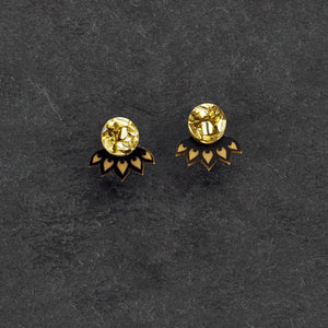 earrings GLITTERY GOLD / BLACK LOTUS JACKETS MINI STUDS Lotus Jacket Glittery Studs | Small Statement Earrings | MAINE+MARA Shop
