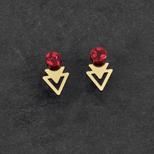 Load image into Gallery viewer, Earrings GLITTERY RUBY / GOLD ARROW JACKETS MINI STUDS Arrow Jacket Mini Studs | Statement Earrings | MAINE+MARA Shop