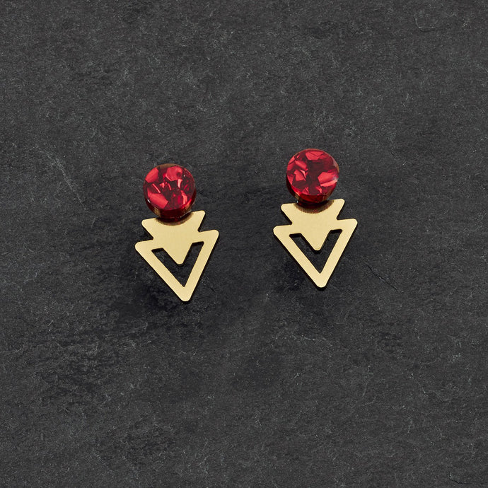 Earrings GLITTERY RUBY / GOLD ARROW JACKETS MINI STUDS Arrow Jacket Mini Studs | Statement Earrings | MAINE+MARA Shop