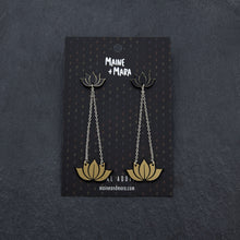 Load image into Gallery viewer, earrings GOLD HANGING LOTUS DANGLES HANGING LOTUS DANGLES | Silver and Gold Statement earrings | MAINE+MARA Shop