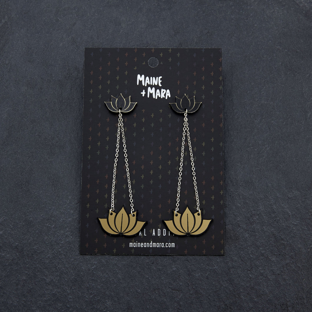 earrings GOLD HANGING LOTUS DANGLES HANGING LOTUS DANGLES | Silver and Gold Statement earrings | MAINE+MARA Shop