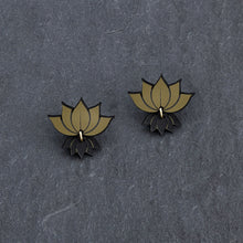 Load image into Gallery viewer, earrings GOLD LOTUS STUDS LOTUS STUDS | Silver and Gold Lotus Statement earrings | MAINE+MARA Shop