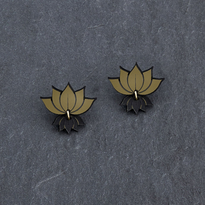 earrings GOLD LOTUS STUDS LOTUS STUDS | Silver and Gold Lotus Statement earrings | MAINE+MARA Shop