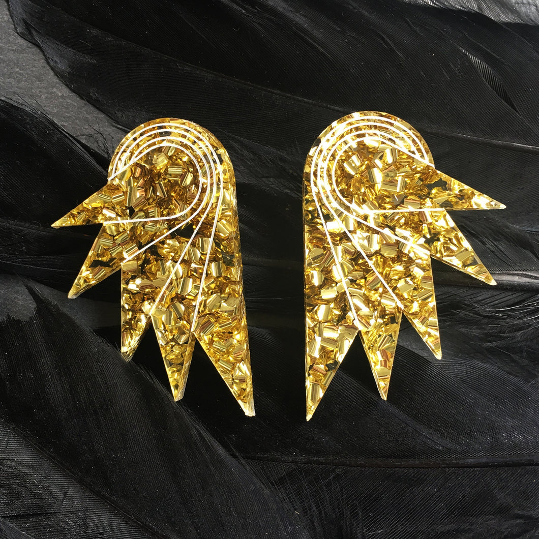 earrings GOLDEN GLITTER / STUDS GLITTERY SPREAD YOUR WINGS I GRANDE GLITTERY WING STUDS | Art deco Statement Earrings | Stud or Clip-on | MAINE+MARA Shop