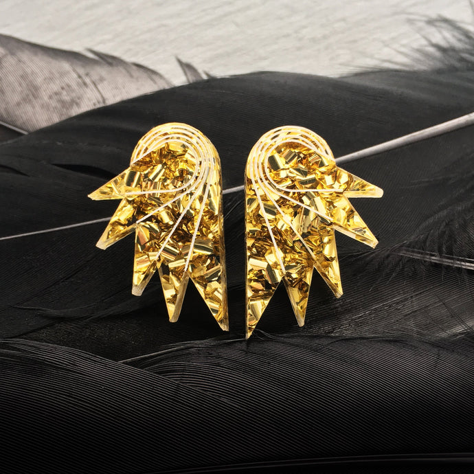 earrings GOLDEN GLITTER / STUDS GLITTERY SPREAD YOUR WINGS I MEDIUM GLITTERY WING STUDS | Art deco Statement Earrings | Stud or Clip-on | MAINE+MARA Shop